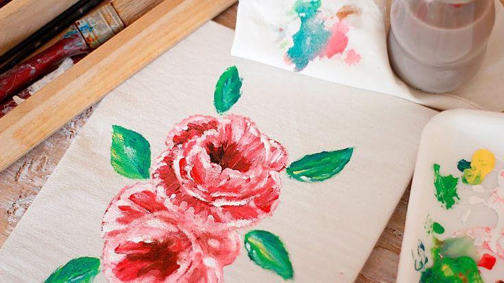 Como pintar rosas paso a paso - Speedpaint - Pintar rosas en tela - Tecn...