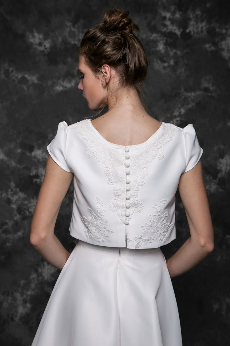 Pureza Mello Breyner Atelier - silk satin top with hand embroidered cotton lace #bride #modern #lace #cotton #silk #romantic #bridal #dress #designer #satin #handmade #by #measure