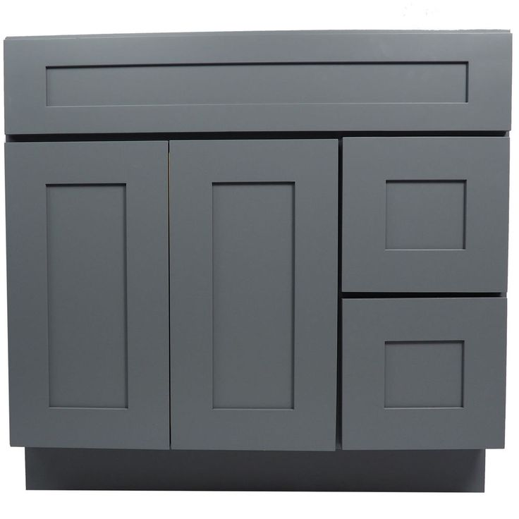 Everyday cabinets 36 inch gray shaker single sink bathroom for Bathroom cabinet 8 inches wide