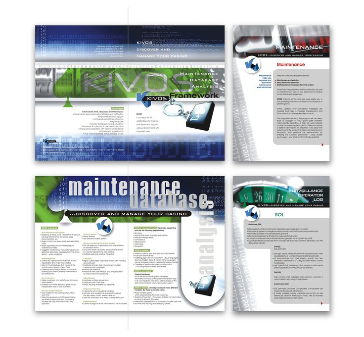 "by Argiro Stavrakou, year 2011, Brochure (in spread) and Flyers for ""Kivos"" Canada Software Company. (in this perticular case, a software about casinos organising and supervision)"