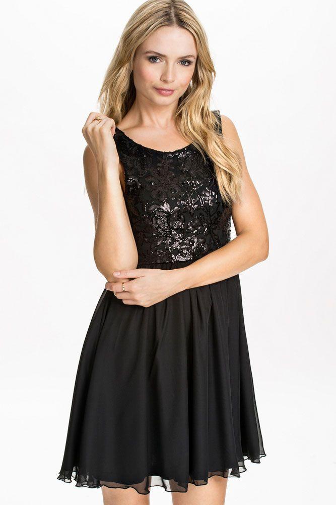 Black Sequin Floral Skater Dress