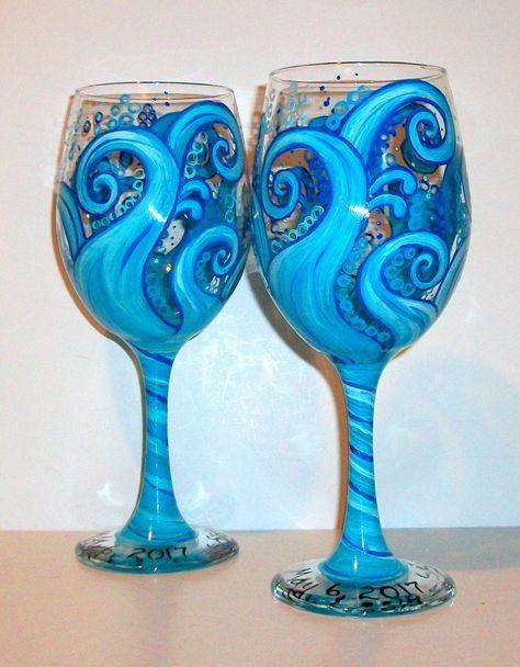 Ocean Blue Waves Hand Painted on 2 - 20 oz. White Wine Glasses Aqua Blue  Wedding, Anniversary Bridesmaids Gift Aqua Blue Waves Beach by SharonsCustomArtwork on Etsy