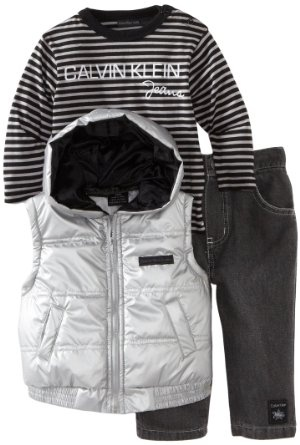 Baby boy clothes#Calvin Klein Baby-boys Infant Vest with Long Sleeve Striped Tee And Pant