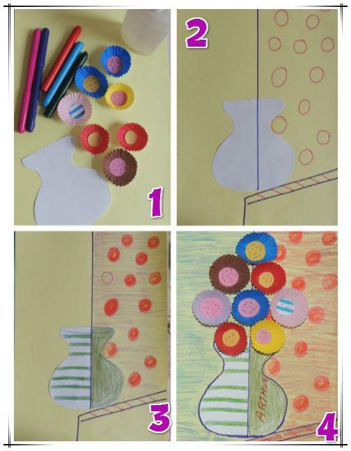 Atividades Jardim da Fantasia: Releitura obra de arte Flower Romero Britto e Reciclagem Divertida