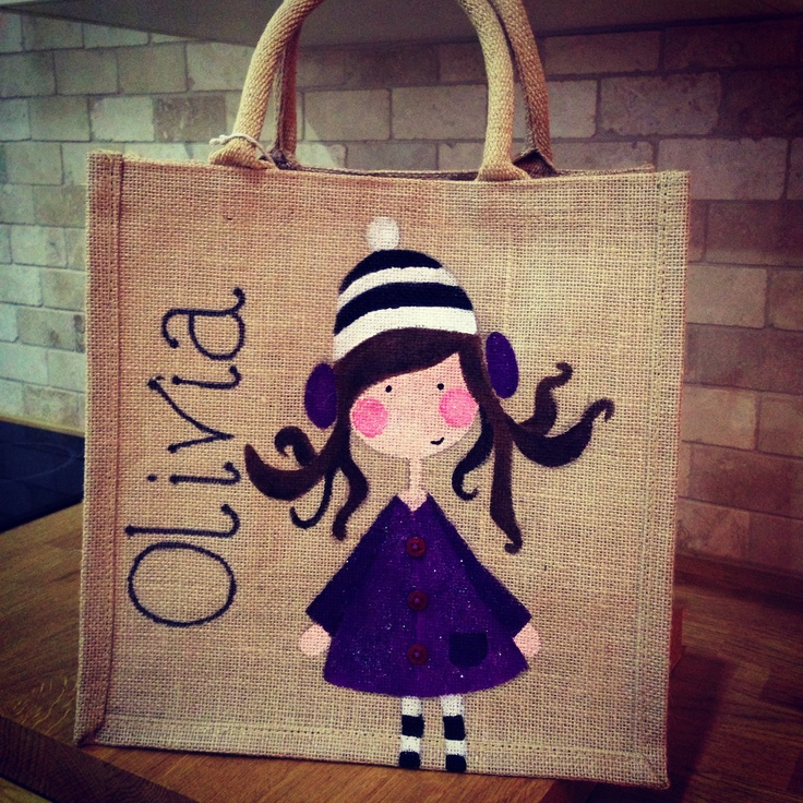 Hand painted personalised jute bag, girly design.