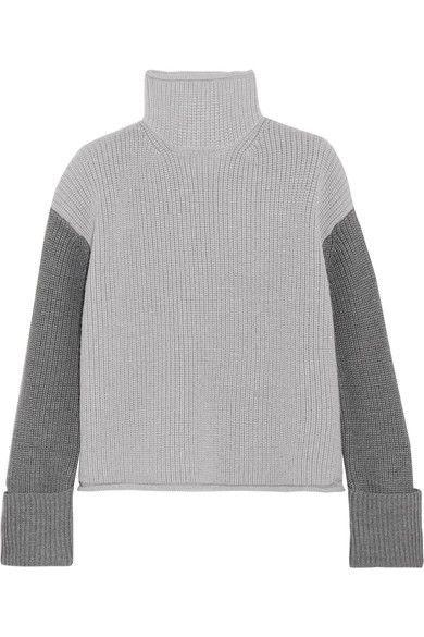 Victoria, Victoria Beckham - Color-block Wool Turtleneck Sweater - Light gray