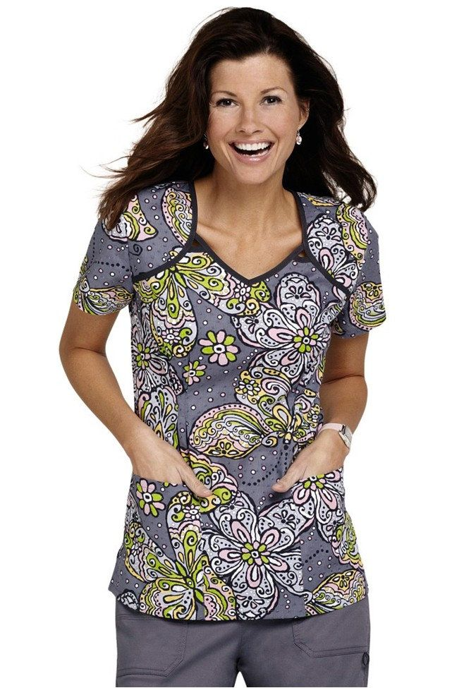 Cherokee Butterfly Batik v-neck print scrub top. - Scrubs and Beyond