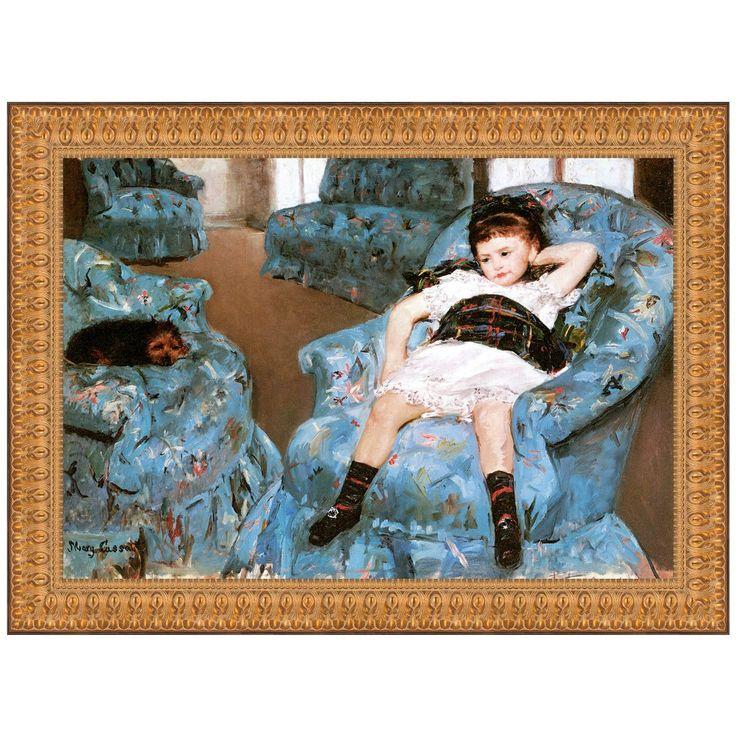 Little girl in a blue armchair 1878 by mary cassatt for Small blue armchair