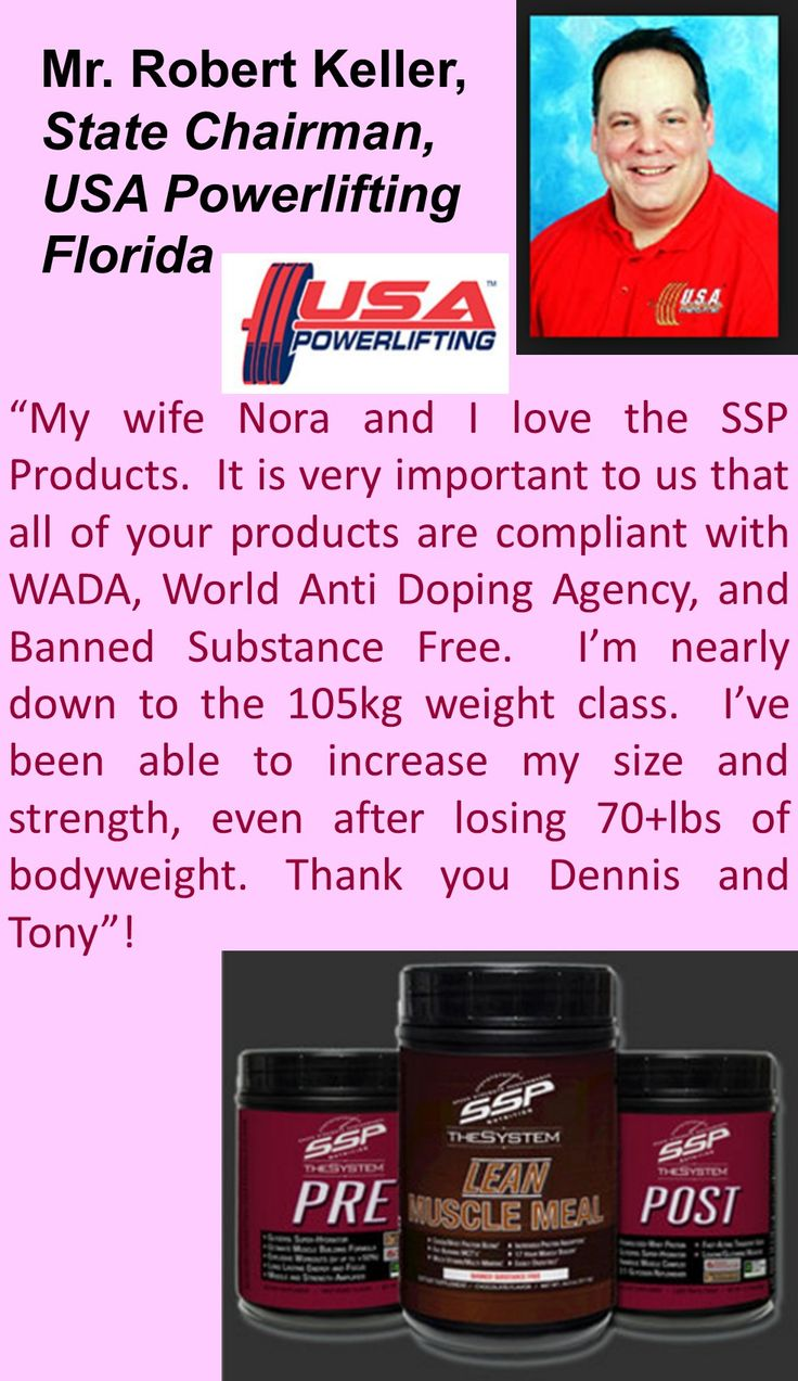 USA Powerlifting Testimonial from Robert Keller, Chaiman of USA Powerlifting Florida.  Experience Higher Intensity Workouts, Recover Faster, Build Lean Muscle Mass, Increase Energy Levels, Compliant with the World Anti-Doping Agency Testing Standard, Banned Substance Free, 100% Money Back Guarantee