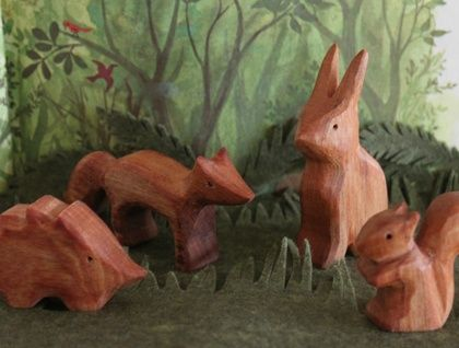 This listing is for 4 delightful wooden creatures.   Fox, squirrel, hedgehog and rabbit have a great time together. Great for imaginative play, stocking fillers, party favours or just those who love woodland animals.  To give you an idea of the size - the rabbit stands 7.5cm tall the fox and the squ...