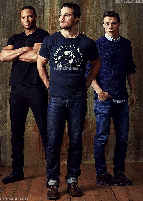 Arrow: Stephen Amell (Oliver aka The Arrow), David Ramsey (Diggle), Colton Haynes (Roy Harper aka Arsenal)