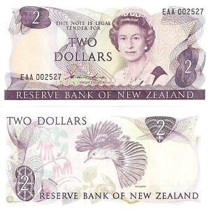Old New Zealand Two Dollar Note front  back