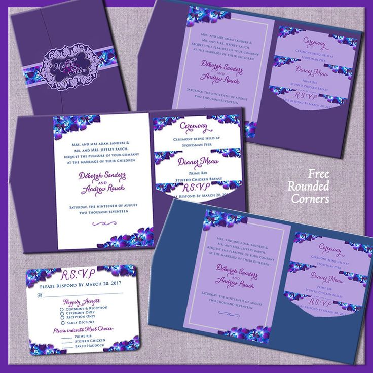 Purple Orchid Wedding Invitations, Floral Wedding Invitation Suites, Custom, Blue Purple Orchid Theme, Belly Bands, Invitation Suites by SaveTheDateMagnets4U on Etsy