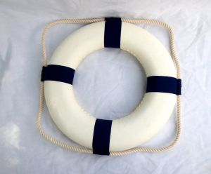 "Nautical Life Preservers Plain Buoys. 14"" Canvas covered flotation foam ring buoys. Colored ""bands"" are also in canvas.   Save on large quantity orders.  These classic life buoy rings are 1-1/2 inch thick flotation foam with canvas coverings. Outside diameter is 14"" and inside diameter space is 7.5"".  These are a nice smaller sized rings; the measurement doesn't include the additional diameter the white bolt rope adds that goes all around …"