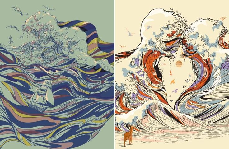 Psychedelic Drawings of Imaginary Lovers Formed By the Sea Chalermphol Harnchakkham more regularly known under the pseudonym of Huebucket is a Thai illustrator who creates splendid surreal and psychedelic drawings. In this series his thin and accurate lines take the form of couples created by the movements of the waves. The result is an interesting union between the power of nature and human bodies curled up against each other while the whole is highlighted by pleasant colors that are…