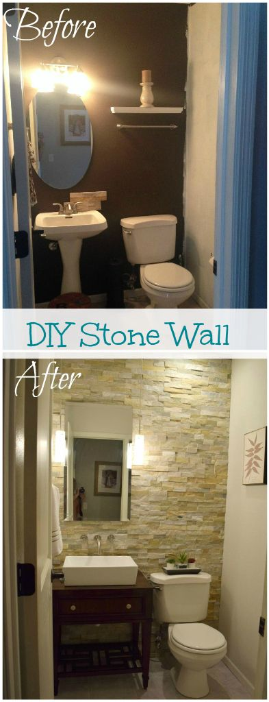 Mommy's Tool Belt l DIY Blog How to install a stone accent wall with stacked ledgestone to make a statement in any room. Create a vanity from a night stand and add a vessel sink.  Pendant lights add ambiance to the bathroom and a wall faucet adds luxury.