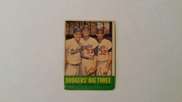 1963 Topps Los Angeles Dodgers Sandy Koufax / Don Drysdale / Johnny Podres baseball card