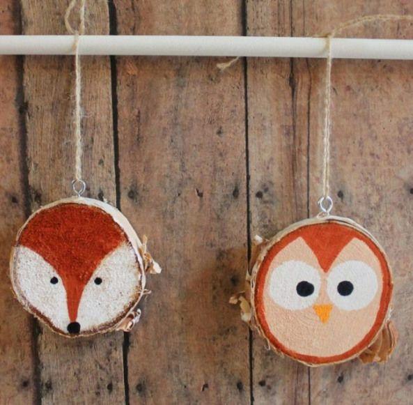 Deko Mit Holzscheiben Bemalen Tiere Fuchs Eule Einfach Kinder Wood