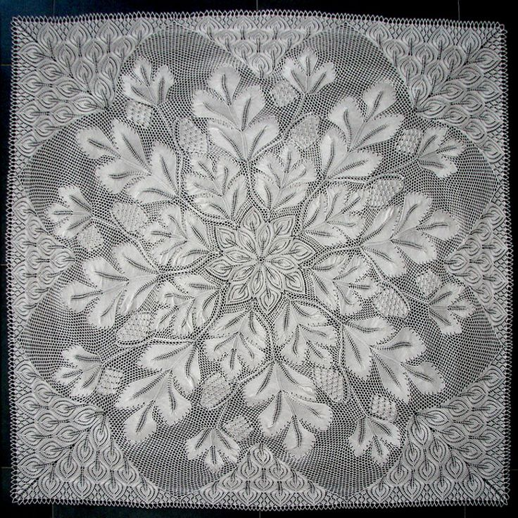 Tannenzapfen--square doily in knitted lace, 60 inches square, pattern on Doilyhead