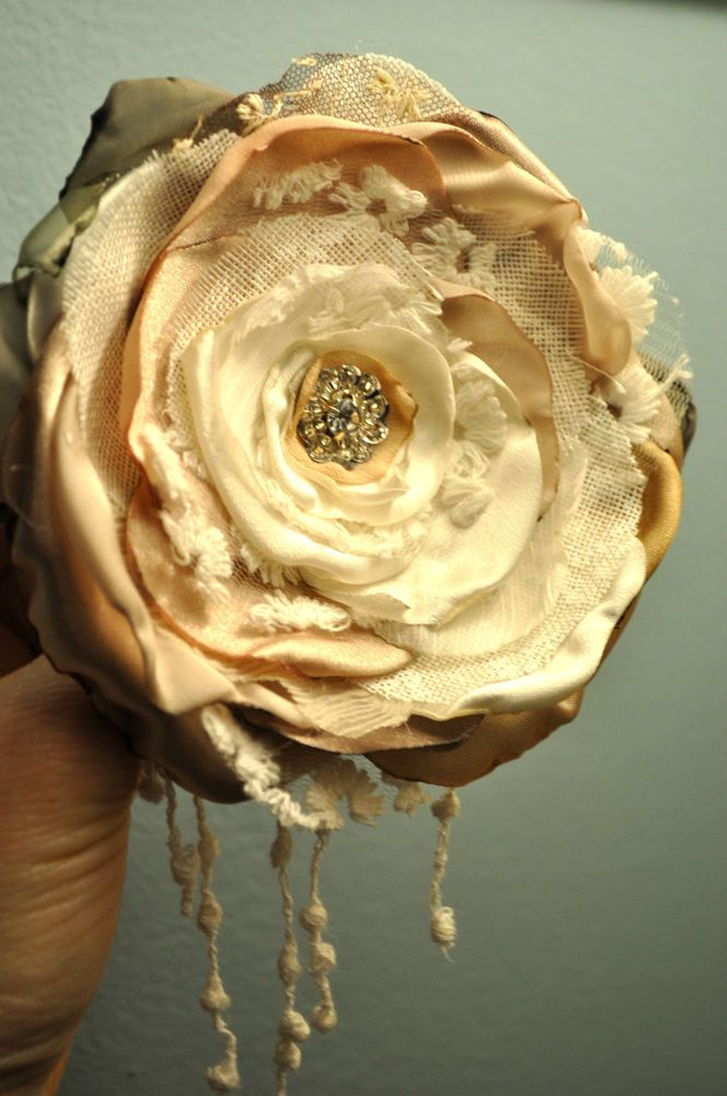 shabby chic white cream ivory flower 12 cm corsage brooch dress pin vintage 20s