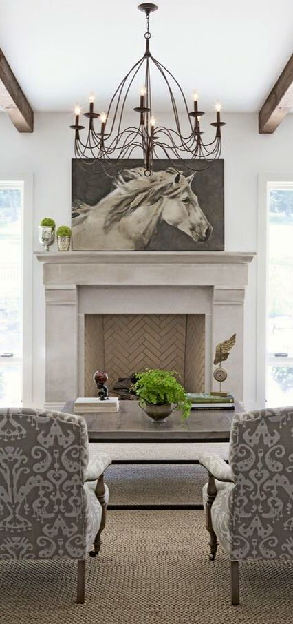 Lovely Layout And Style For Family Room Grey Tone Living With Horse Painting From Rachel Halvorson Designs