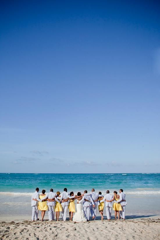 Beach Wedding Ideas - Caribbean wedding inspiration and ideas: Bridal party on the beach