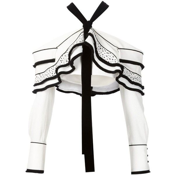 Proenza Schouler ruffled bolero top ($2,865) ❤ liked on Polyvore featuring tops, white, white flounce top, white off the shoulder top, white top, proenza schouler and ruffle long sleeve top