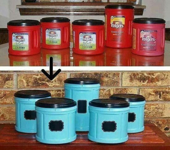 Folgers Coffee Container Craft. Upcycle for the kitchen! Good thing these would be easy access.