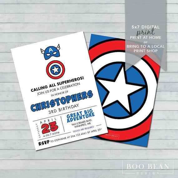 Captain America Birthday Invitation Printable by BooBeanDesign
