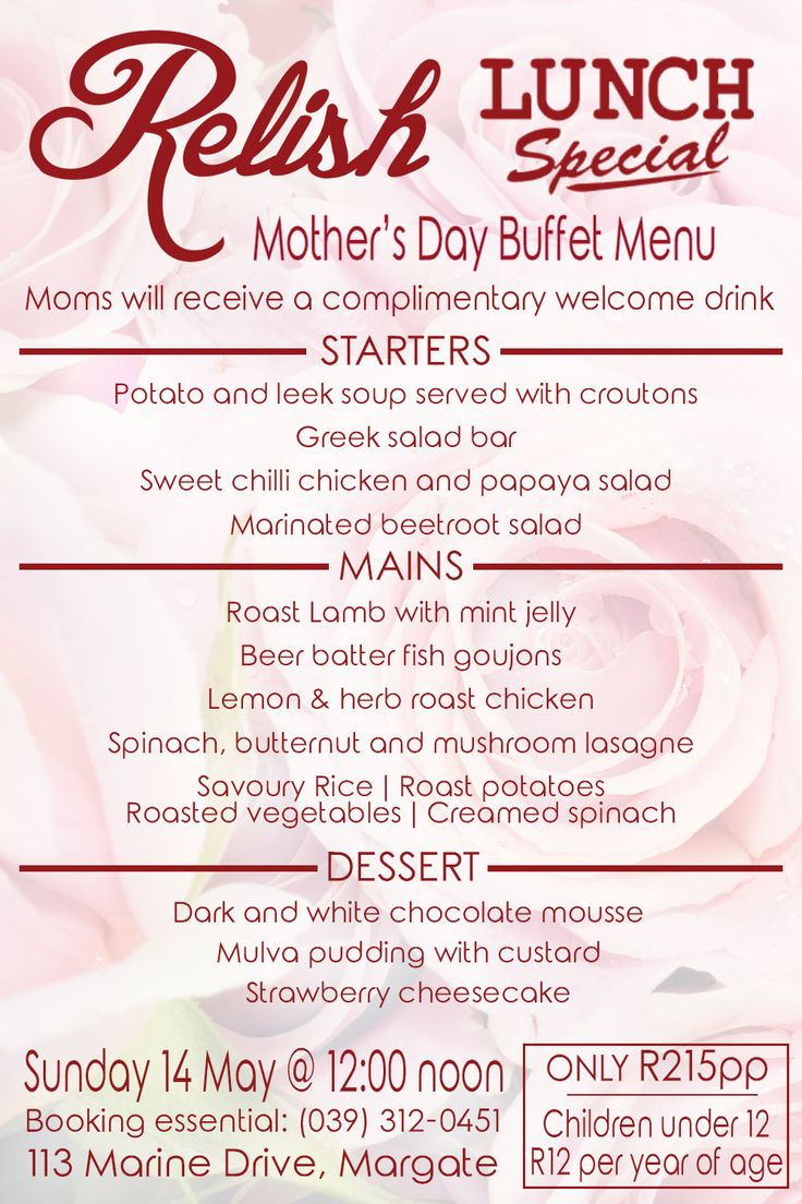 Spoil mom this #MothersDay with the #mouthwatering #lunch buffet special at #RelishRestaurant MORE INFO ON OUR WEBSITE. LINK IN BIO #WheretoEat