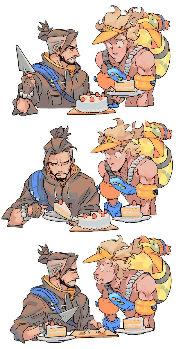 "Hanzo sighs heavily. ""You owe me the rest of my cake Jamison."" squints eyes, taking back the cake given to the other and proceeds to eat it the two pieces himself."