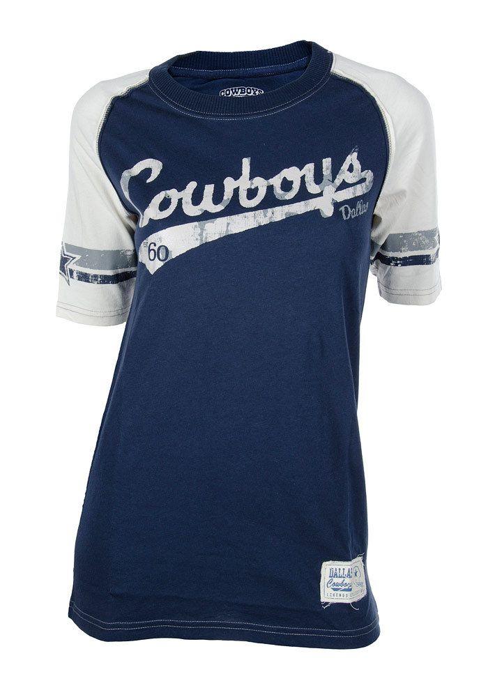 Dallas Cowboys Womens Navy Blue w/ White Sleeves Shiners T-Shirt