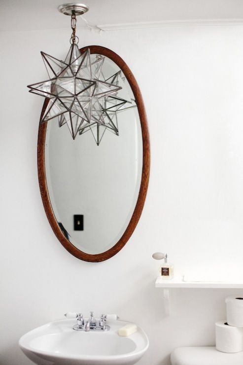 Rue Magazine - bathrooms - Moravian Star Pendant, oval, wood, mirror, glossy, white, pedestal, sink, moravian star, moravian star pendant, o...