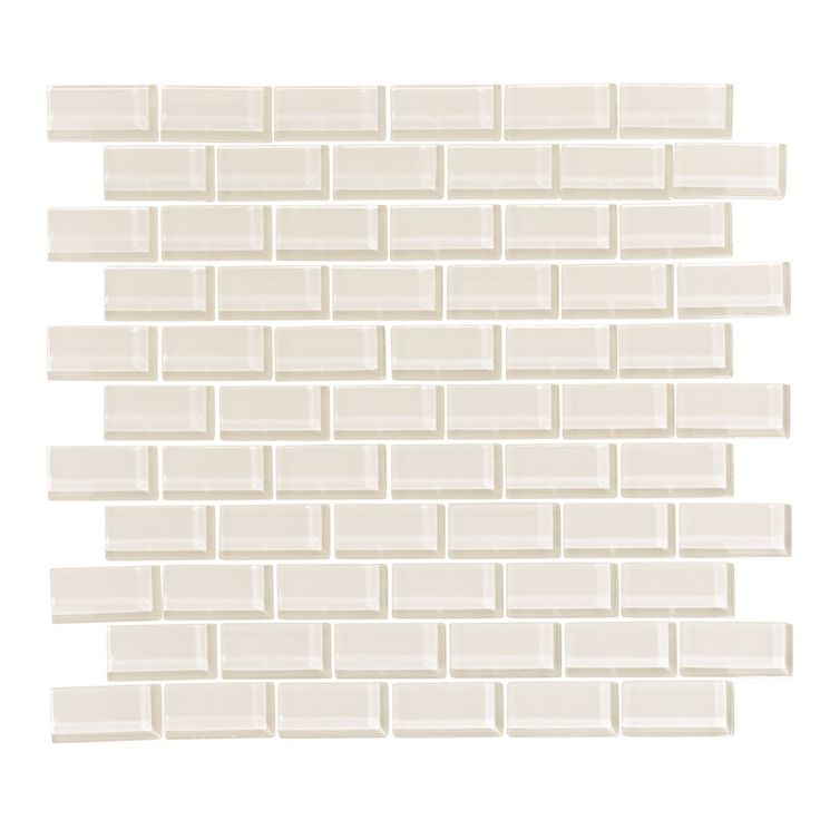 Cream 1x2 Glass Subway Tile Mosaic