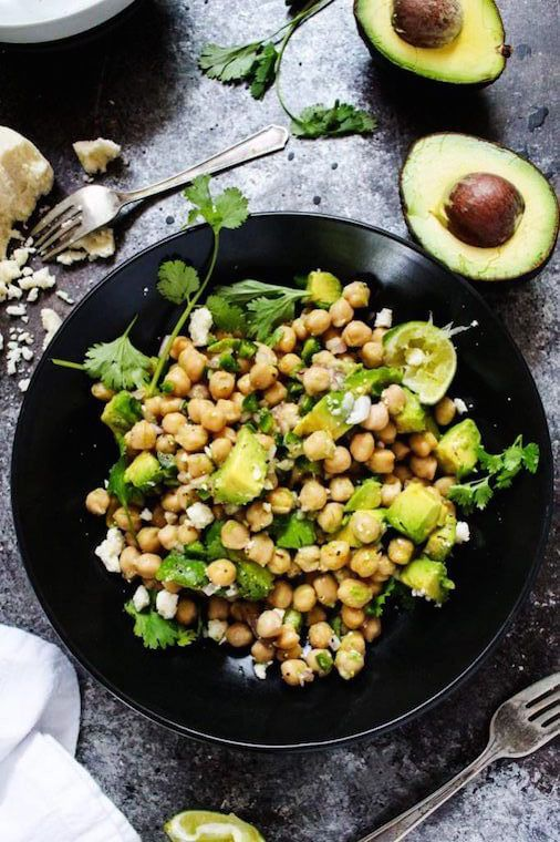 you can make these healthy lunches in 10 minutes - like this chickpea and avocado salad! via @wellandgoodnyc