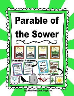 For the Parable of the Sower, the visuals are full page size so they can be used as a bulletin board also (photo included). There are also the Parable Posters and Application Posters.