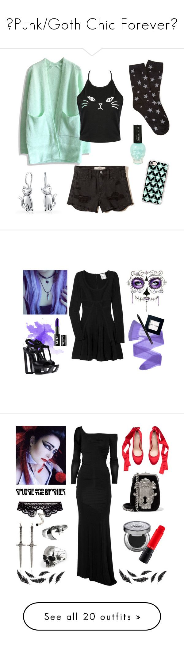 """""""🖤Punk/Goth Chic Forever🖤"""" by cherrycokegrunge ❤ liked on Polyvore featuring Chicwish, Hollister Co., Forever 21, Bling Jewelry, Hot Topic, Casetify, Casadei, Hervé Léger, Wolford and Bobbi Brown Cosmetics"""