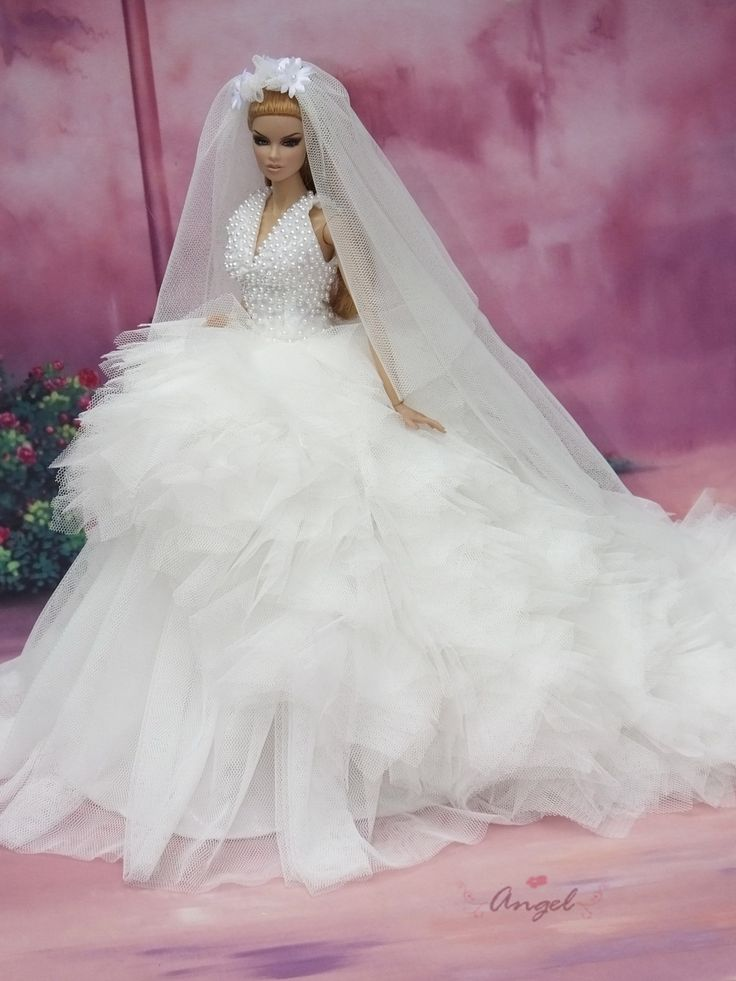 For my fashion royalty doll wedding gown pinterest for Wedding dresses for barbie dolls