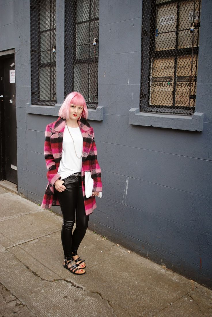 www.honeypopkisses.com pink check debenhams coat, faux leather trousers
