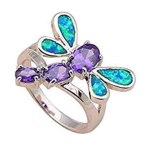 T-Jewelry Fashion Dragonfly Crystal Blue Fire Opal Jewelry Ring Silver Plated Ring For Women Rings (6.5)