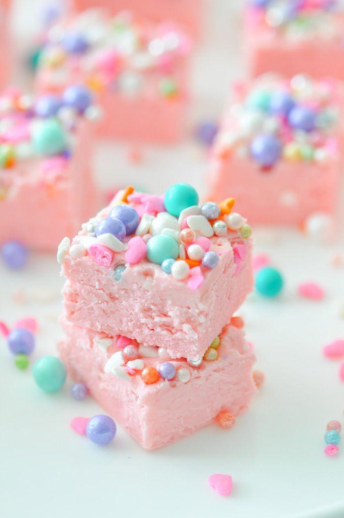 Easy Unicorn Fudge Recipe using two ingredients by Kara's Party Ideas | KarasPartyIdeas.com