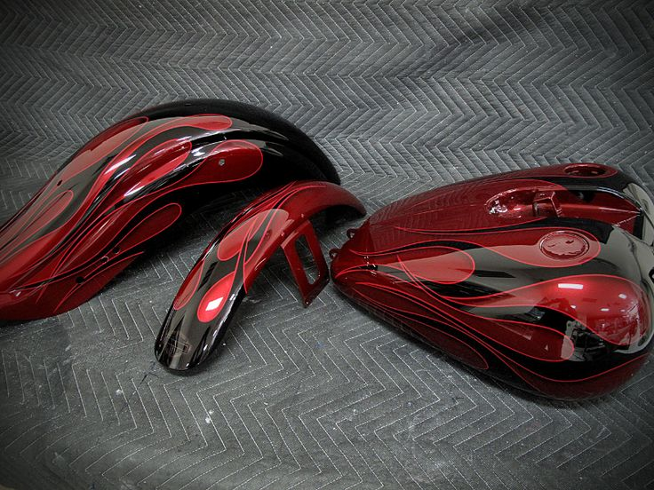 Flame Paint Harley Red Black Flames Motorcycle