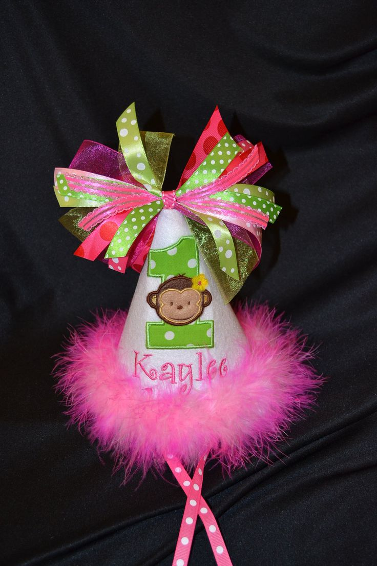 Pretty in PINK and Lime 1st Birthday Party Hat Modern Monkey Girl Party or have me custom make a hat to match your party theme. $29.95, via Etsy.