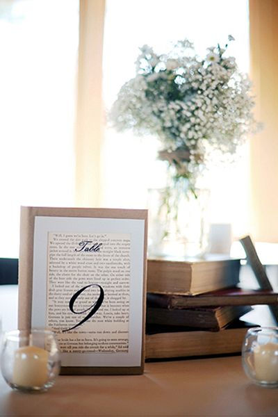Use vintage book pages for your table numbers