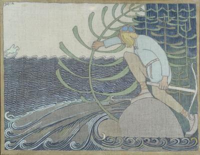 Jpseph Alanen. illustration for the Kalevala. Joukahaisen Kosto/ the revenge of Joukahainen. 1919/1920