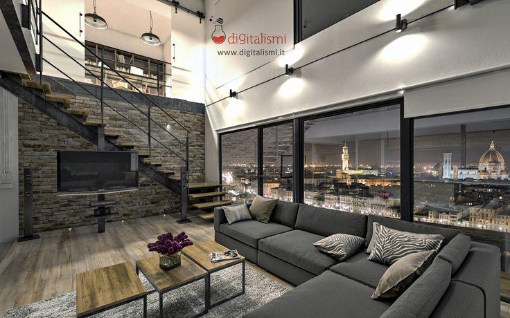 Interior night rendering - Rendering di interni notturna - Apartment in Florence