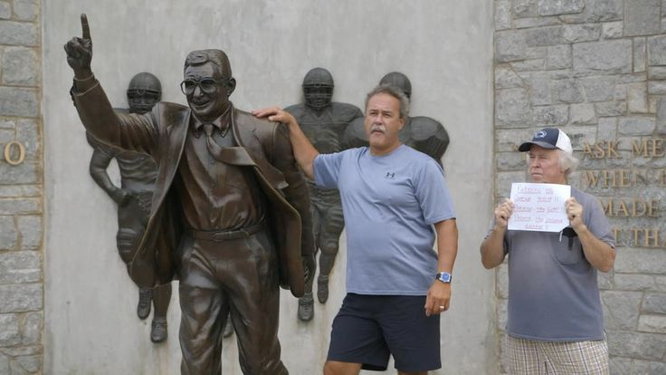 At a bronze statue of Joe Paterno, the former Penn State football coach, a critic and fans spar over his legacy.