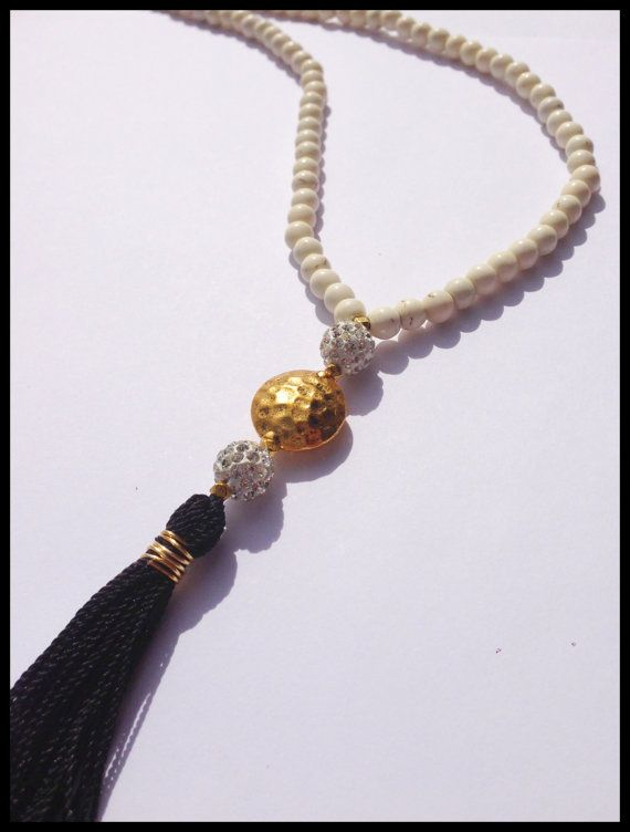 Long Natural Cream Beaded Necklace  Black by ClaribellasDesigns, $30.00