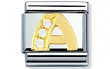 Nomination Stainless Steel Letter A Classic Charm with 18ct gold and Cubic Zirconia