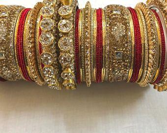 Bangles, gold bangles, red bridal bangles, indian bangles, pakistani bangles, indian jewelry, pakistani jewelry, indian wedding jewelry. (Etsy.com $70.00 set)